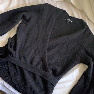 Black Express Tie Sweater